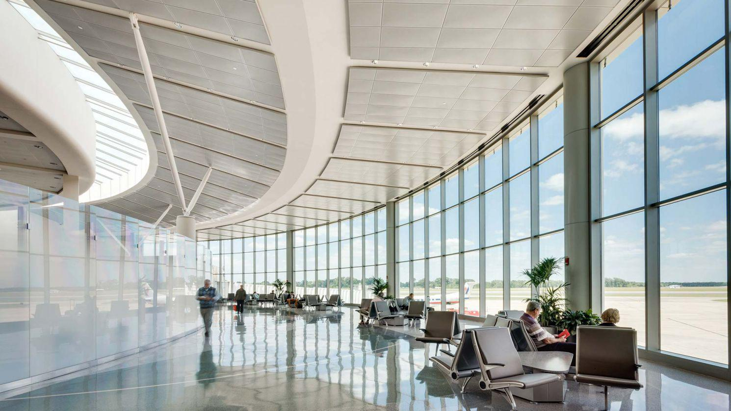 Interior image of new Baton Rouge Metropolitan Airport terminal expansion architecture