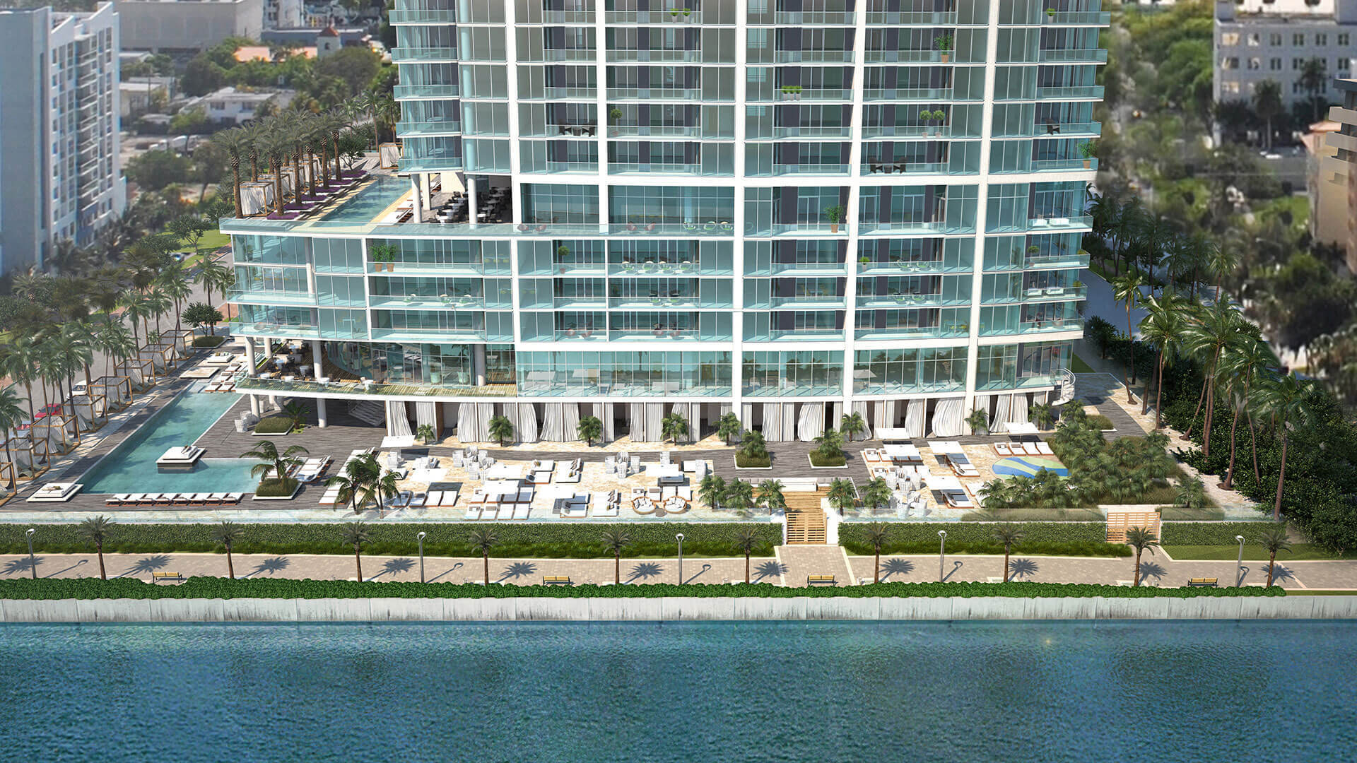Architectural rendering of beach amenity at Biscayne Beach Residences in East Edgewater Miami